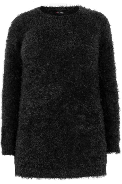 8041 Lower Lashes black fluffy eyelash jumper plus size 16 to 36