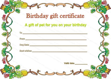 birthday gift certificate template free printable best photos of birthday gift coupon template free