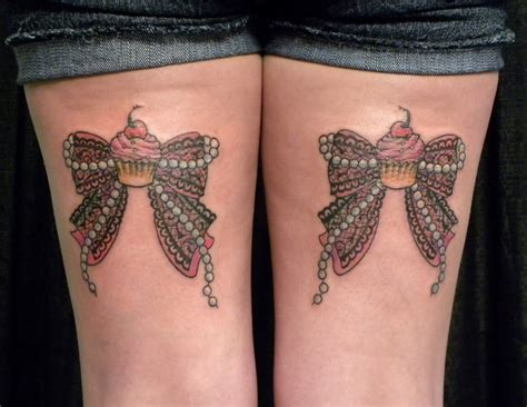 back thigh tattoo ribbon bow tattoos on back thigh