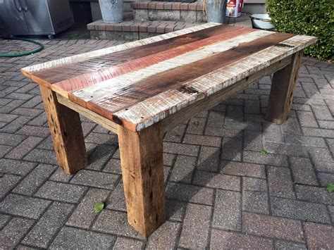 homemade coffee table made from stained wood and pipe diy reclaimed barn wood coffee table diy and crafts