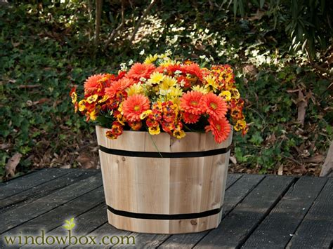 Half Wine Barrel Planters For Sale by Wooden Whiskey Barrel Planter Cedar Planters For Sale