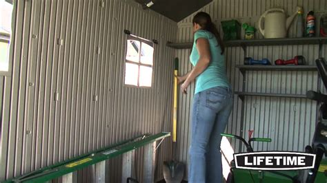 lifetime    outdoor storage shed model  youtube