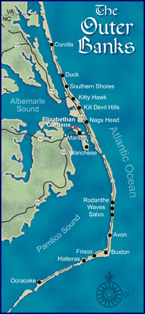 map of carolina outer banks map of the outer banks nc