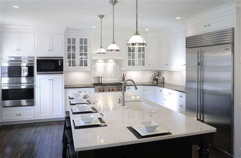white kitchen cabinets with black island transitional white kitchen w black island transitional