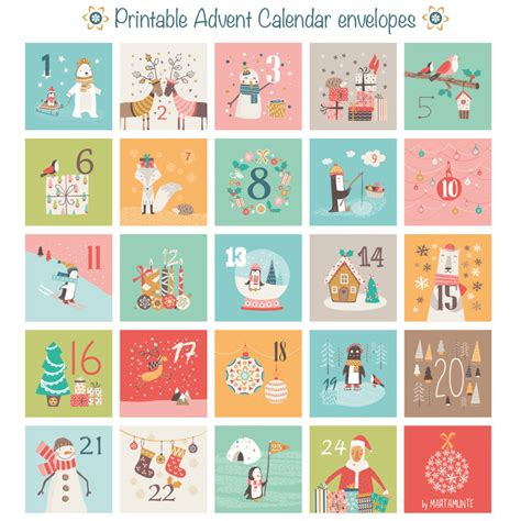 printable free advent calendar printable advent calendar 24 mini envelopes christmas