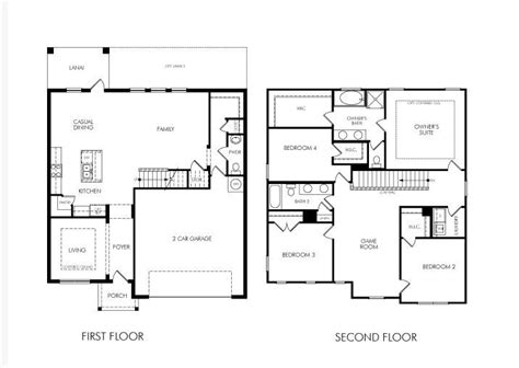 floor plans for 2 story homes two story 4 bedroom home floor plan future home ideas