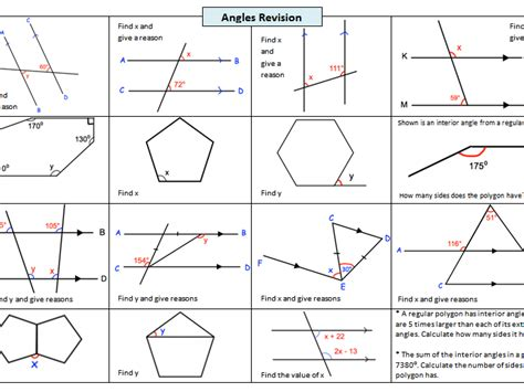 Angles In Polygons Worksheet by Revision Worksheet On Angles In Parallel Lines And Angles