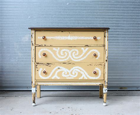 Painted Yellow Dresser by Vintage Handpainted Distressed Yellow Dresser Omero Home
