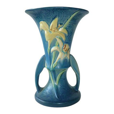 Roseville Zephyr Vase by Roseville Zephyr Handle Blue Vase From
