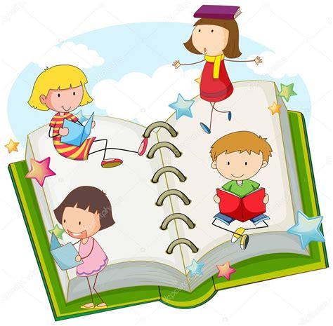 imagenes infantiles niños leyendo ni 241 os leyendo libros juntos vector de stock 129319716