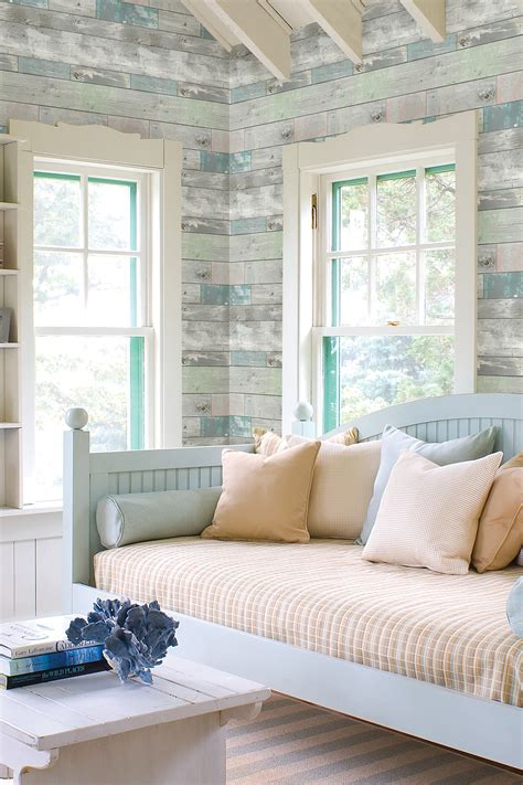 Dean Blue Distressed Wood Panel Wallpaper by Brewster Home ... Wood Wallpaper Bedroom