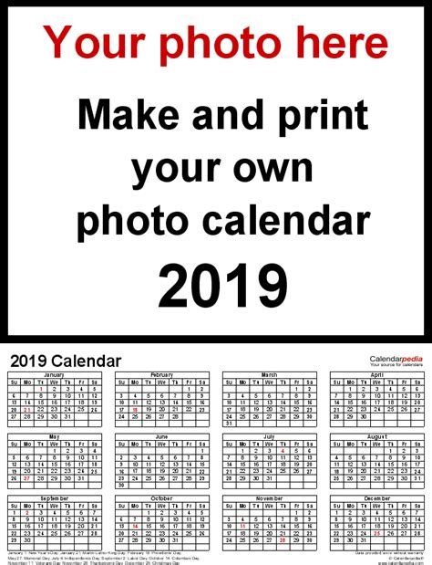 make my own calendar book photo calendar 2019 free printable excel templates