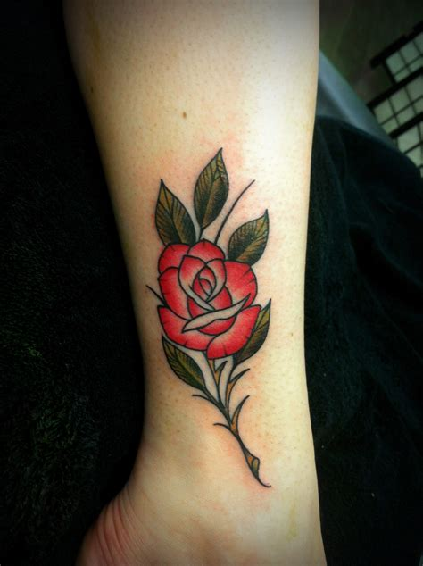 tiny rose tattoo neo traditional