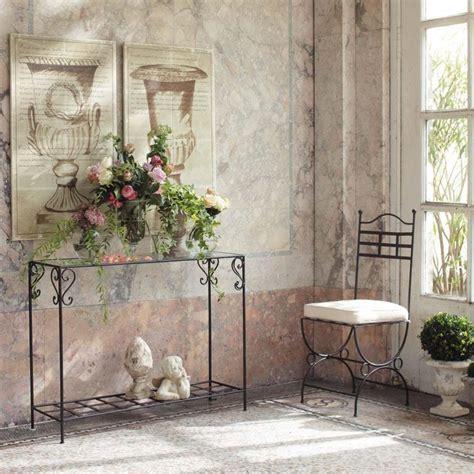 console maison du monde table console en fer forg 233 et verre marron l 110 cm