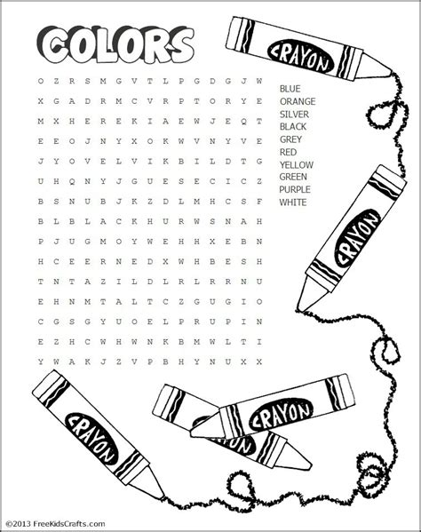 Search Name Printable Colors Word Search