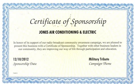 sponsor certificate template certificate of sponsorship