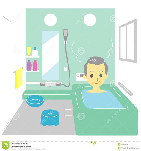old man bathroom taking a bath old man stock vector image 51910792