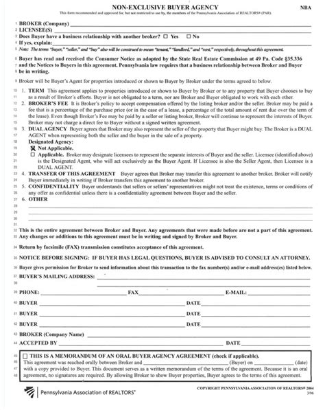 exclusive agency agreement template a skiba realty non exclusive buyer agency form