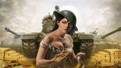 world  tanks art picture tanks girl helmet gold bars hd