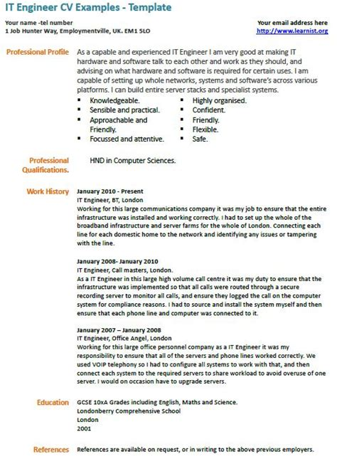 it engineer cv example learnist org