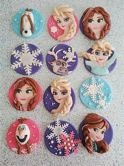 frozen fondant edible inspired theme cupcake toppers disney awesome and frozen cupcakes