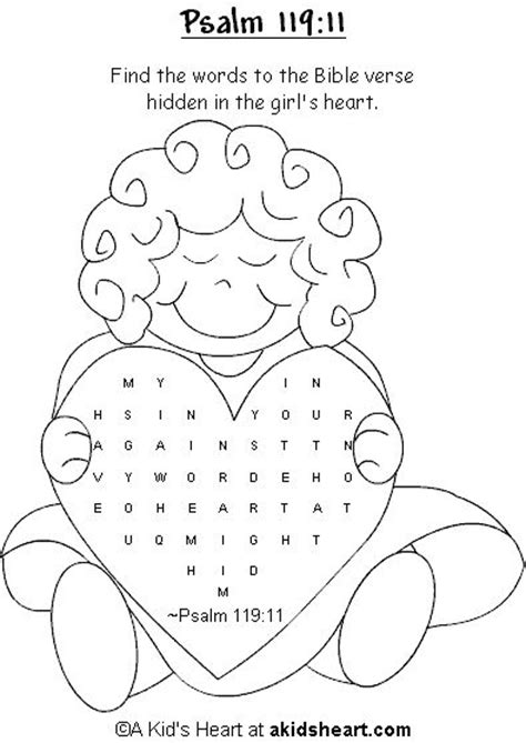 printable version of psalm 119 bible verse activity page to print psalm 119 11 sunday