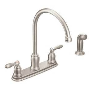 moen faucets kitchen repair caldwell spot resist stainless two handle high arc kitchen