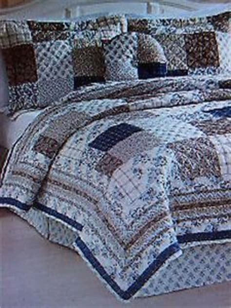 new king size quilt set 5 cali blue patchwork
