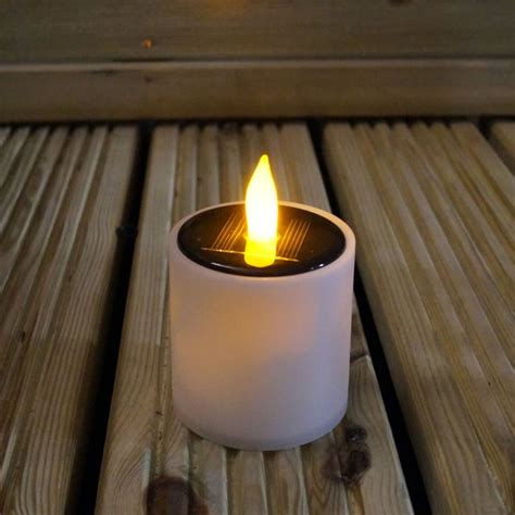 White Metal Lantern With Flickering Solar Led Candle Flickering Solar Lights