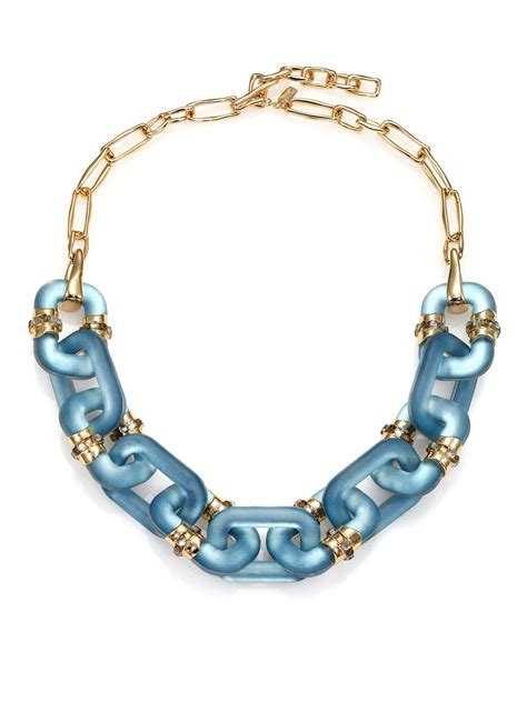 lucite for jewelry bittar sport deco lucite link necklace in blue lyst