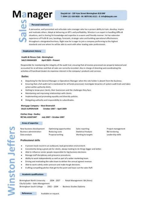 sle of cv and resume sales manager cv exle free cv template sales