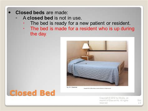 closed bed chapter 19 bedmaking copyright 169 2012 by mosby an imprint