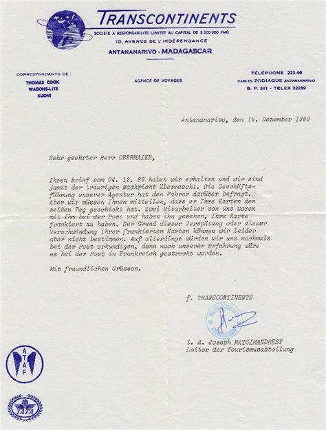 Brief Anfrage Reiseb Ro philaseiten de madagaskar postst 252 cke vor und nach der