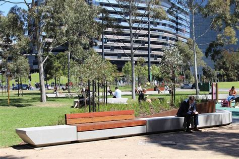 park benches melbourne clec site docklands park stage 2 by mala studio