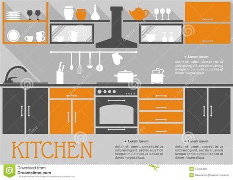 flat kitchen design flat kitchen interior design stock vector image 47455493
