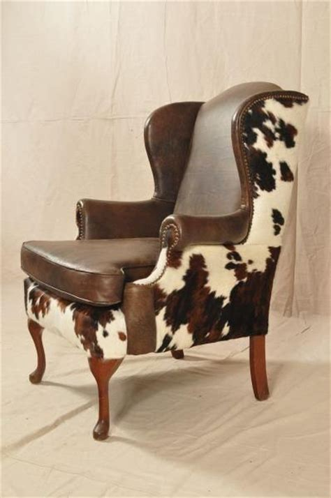 Cowhide Upholstery Leather - cow hide covered wing chair pesquisa western