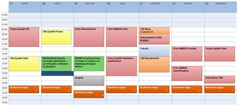 exemple planning semaine travail