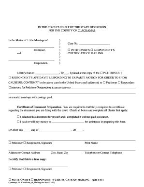 Clackamas County Marriage Records Bill Of Sale Form Oregon Respondents Certificate Of