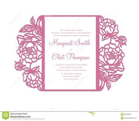 gate fold invitation template peonies laser cut invitation template stock vector image