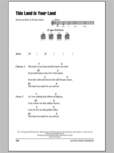printable lyrics this land is your land this land is your land sheet music by woody guthrie