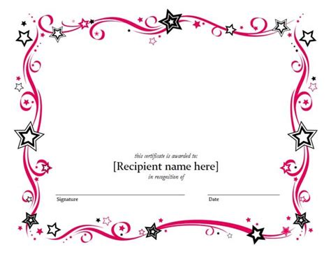 blank certificate template word blank certificate templates kiddo shelter