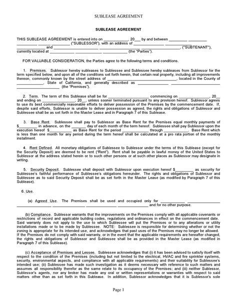 Free California Sublease Agreement Pdf Word Do It Yourself Forms Commercial Sublease Agreement Template California