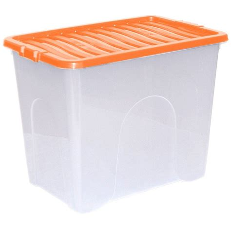 orange storage containers 5 x 80l plastic storage box strong stackable container