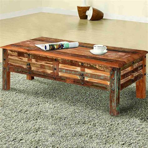 Coffee Table Rustic Wood Pioneer Rustic Reclaimed Wood 45 Coffee Table W Drawers
