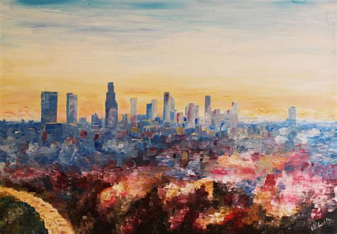 angelus paint los angeles downtown los angeles at dusk painting by m bleichner