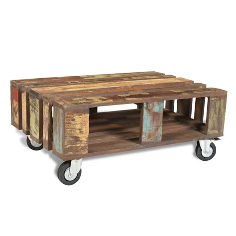 Vidaxl Co Uk Antique Style Reclaimed Wood Coffee Table Antique Coffee Table With Wheels