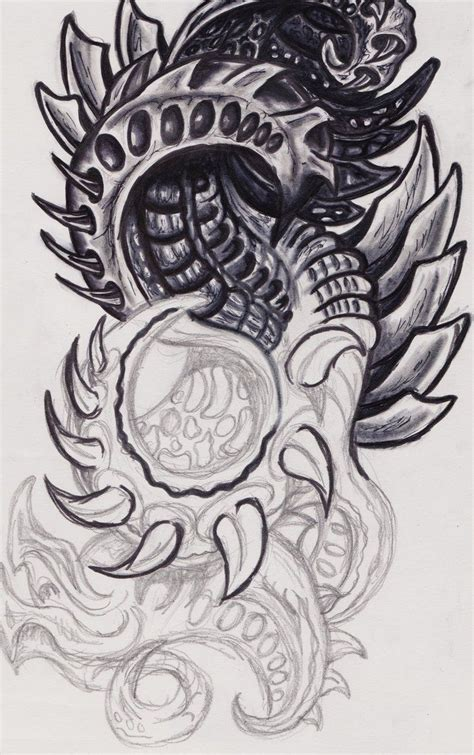 black and white grey color ink biomechanical design