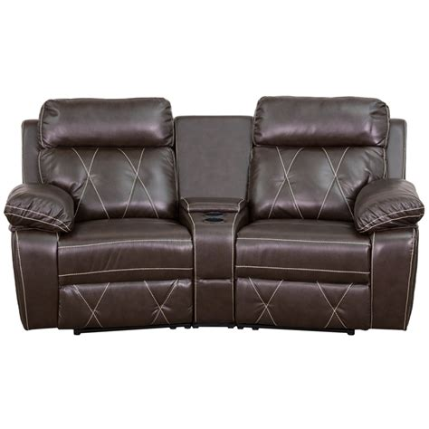 theatre recliner seating reel comfort series 2 seat reclining brown leather theater