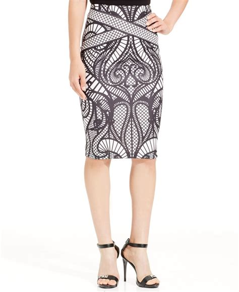 eci below knee printed pencil skirt in lyst