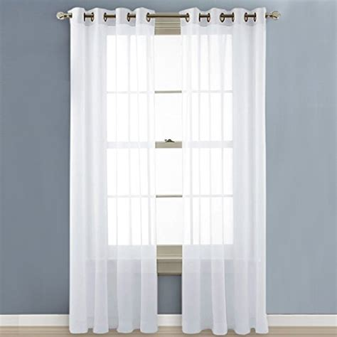 curtains for 8 foot wide window nicetown sheer voile window curtain panels with grommet